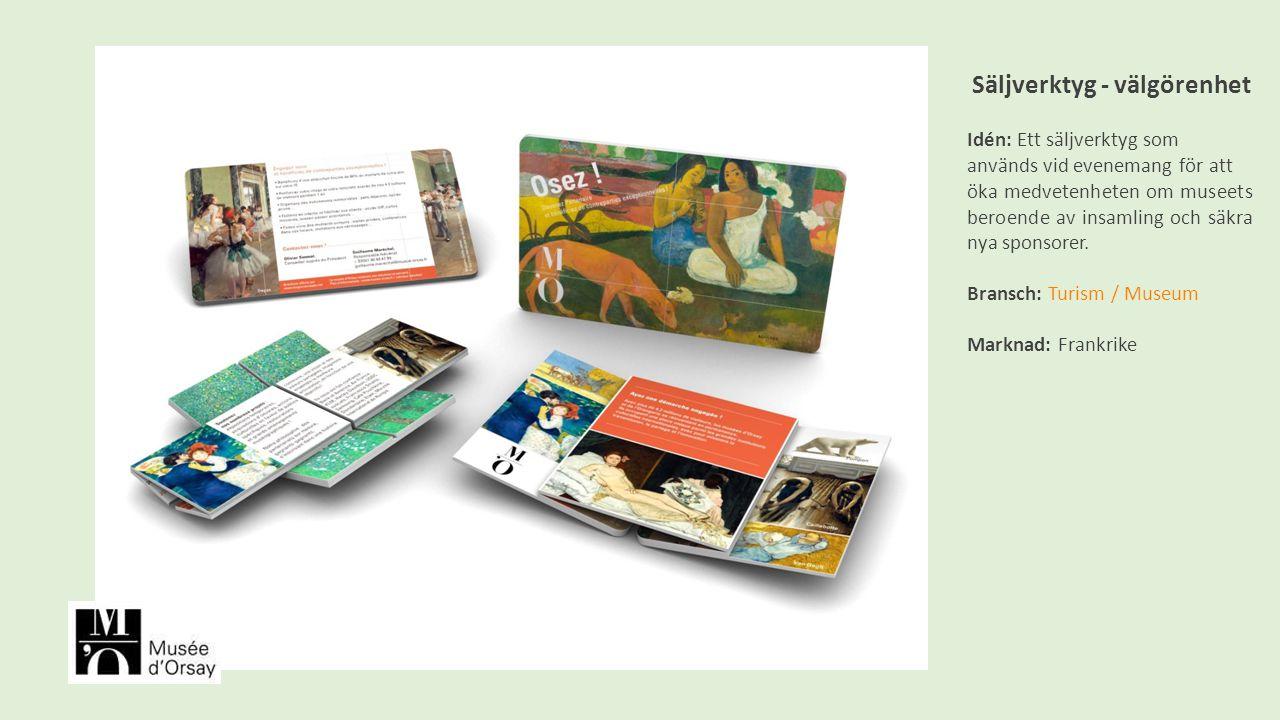 Säljverktyg - välgörenhet Idén: Ett säljverktyg som används vid evenemang för att öka medvetenheten om museets beroende av insamling och säkra nya sponsorer.