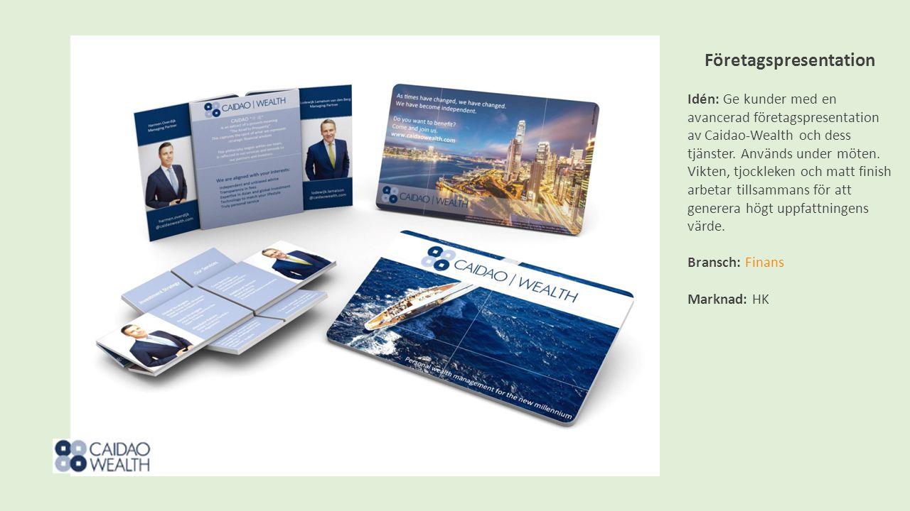 Företagspresentation Idén: Ge kunder med en avancerad företagspresentation av Caidao-Wealth och dess tjänster.