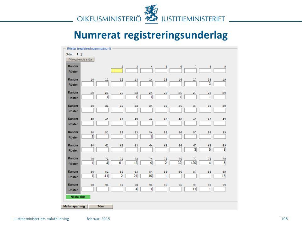 Numrerat registreringsunderlag 108februari 2015Justitieministeriets valutbildning