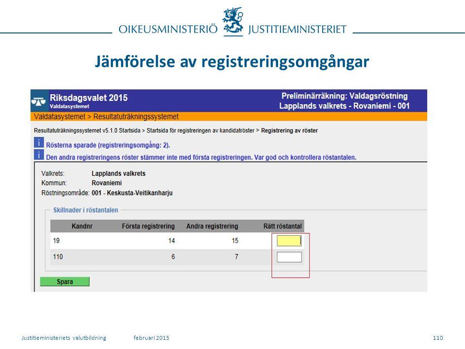 Jämförelse av registreringsomgångar 110februari 2015Justitieministeriets valutbildning