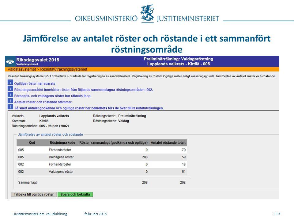 Jämförelse av antalet röster och röstande i ett sammanfört röstningsområde 113februari 2015Justitieministeriets valutbildning