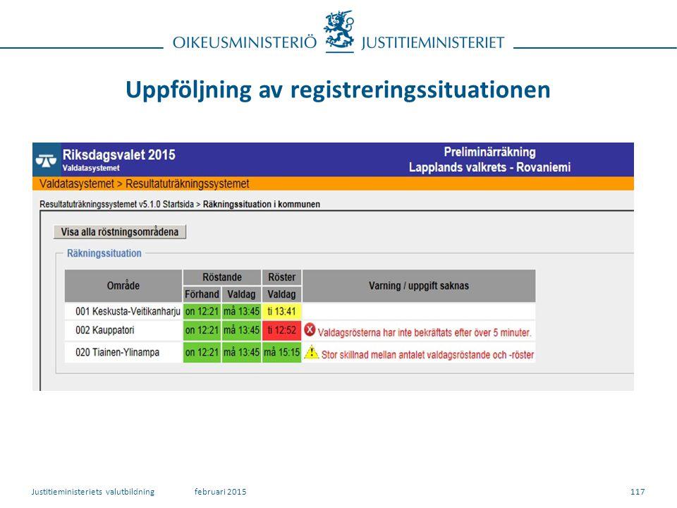 Uppföljning av registreringssituationen 117februari 2015Justitieministeriets valutbildning