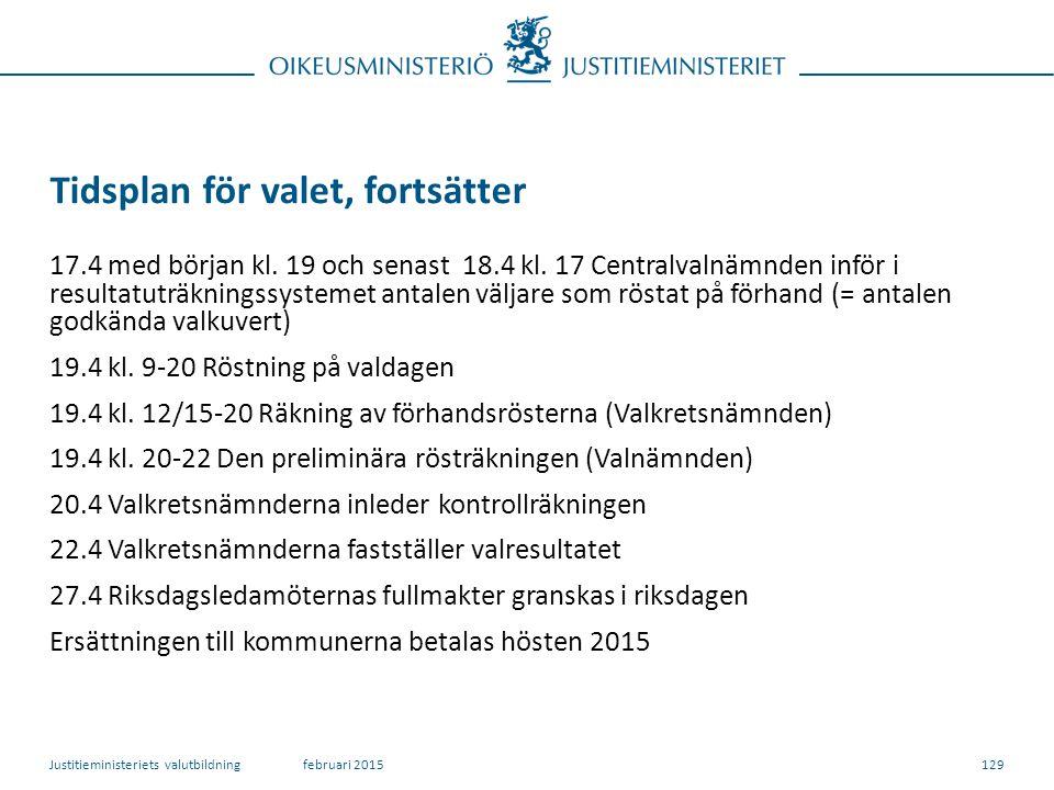 129 Tidsplan för valet, fortsätter 17.4 med början kl.