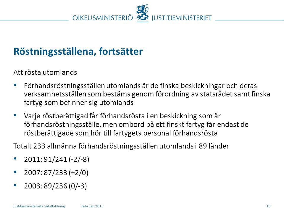 Röstningsställena, fortsätter Att rösta utomlands Förhandsröstningsställen utomlands är de finska beskickningar och deras verksamhetsställen som bestäms genom förordning av statsrådet samt finska fartyg som befinner sig utomlands Varje röstberättigad får förhandsrösta i en beskickning som är förhandsröstningsställe, men ombord på ett finskt fartyg får endast de röstberättigade som hör till fartygets personal förhandsrösta Totalt 233 allmänna förhandsröstningsställen utomlands i 89 länder 2011: 91/241 (-2/-8) 2007: 87/233 (+2/0) 2003: 89/236 (0/-3) februari 2015Justitieministeriets valutbildning15