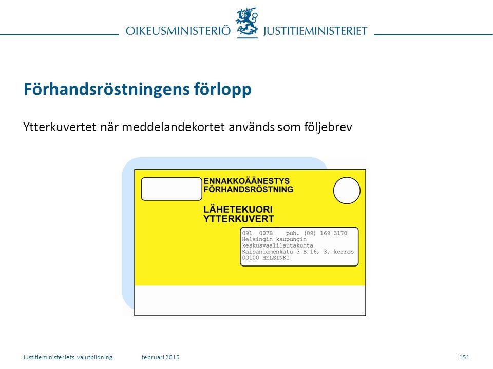 151 Förhandsröstningens förlopp Ytterkuvertet när meddelandekortet används som följebrev februari 2015Justitieministeriets valutbildning