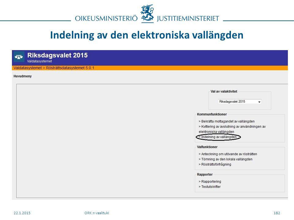 Indelning av den elektroniska vallängden ORK:n vaalituki22.1.2015182