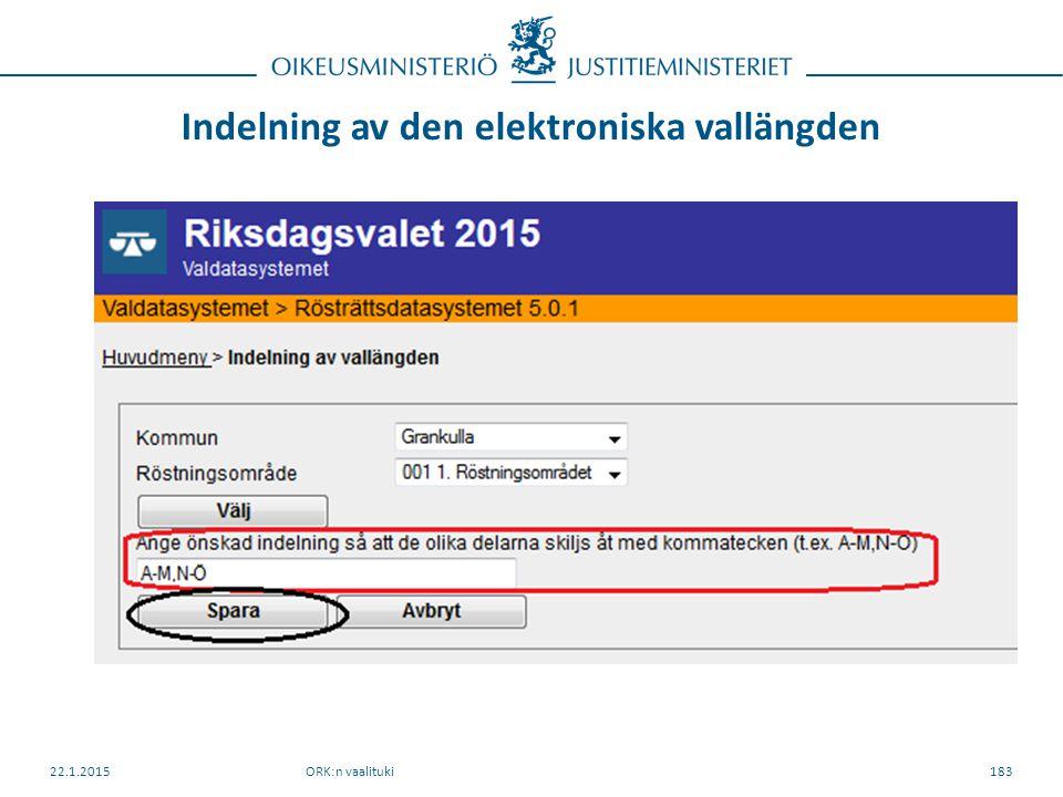 Indelning av den elektroniska vallängden ORK:n vaalituki22.1.2015183