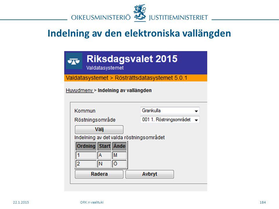 Indelning av den elektroniska vallängden ORK:n vaalituki22.1.2015184