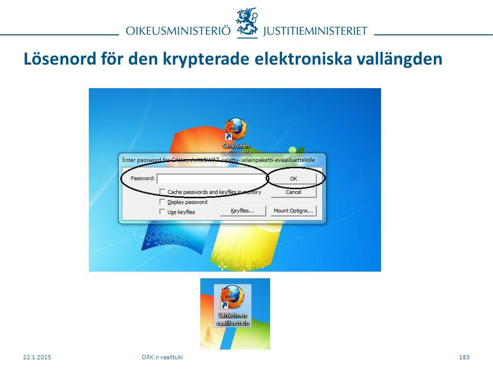 Lösenord för den krypterade elektroniska vallängden ORK:n vaalituki22.1.2015185