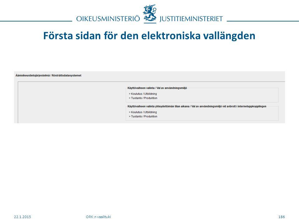 Första sidan för den elektroniska vallängden ORK:n vaalituki22.1.2015186