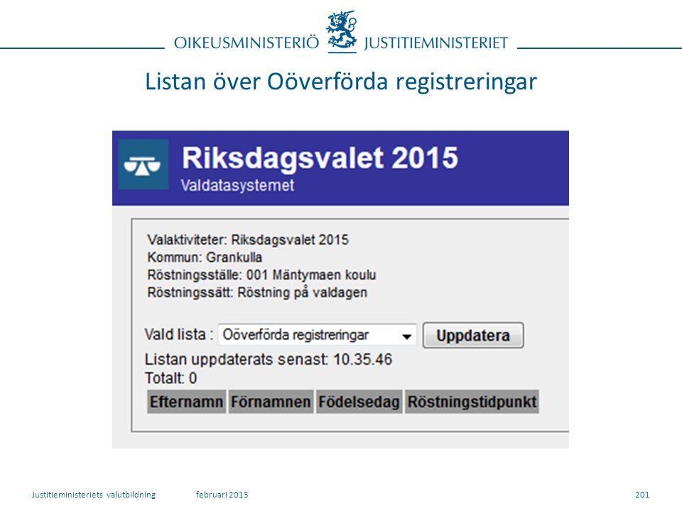 Listan över Oöverförda registreringar 201februari 2015Justitieministeriets valutbildning