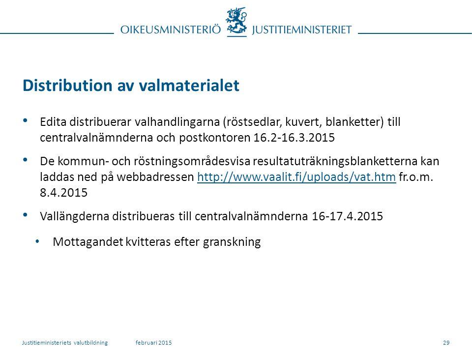 Distribution av valmaterialet Edita distribuerar valhandlingarna (röstsedlar, kuvert, blanketter) till centralvalnämnderna och postkontoren 16.2-16.3.2015 De kommun- och röstningsområdesvisa resultatuträkningsblanketterna kan laddas ned på webbadressen http://www.vaalit.fi/uploads/vat.htm fr.o.m.