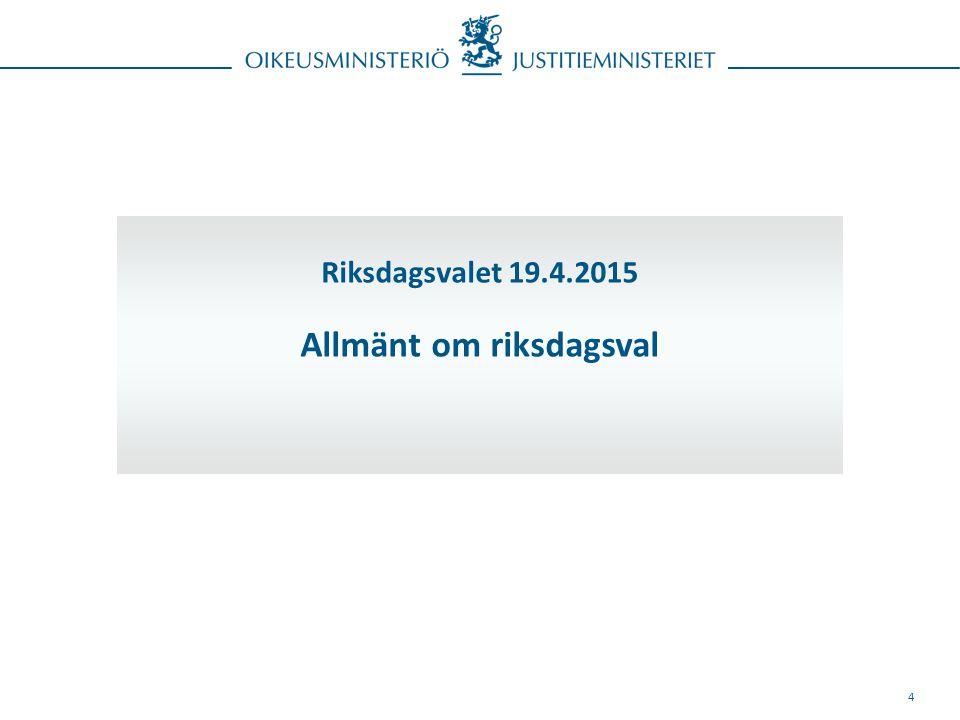 4 Riksdagsvalet 19.4.2015 Allmänt om riksdagsval