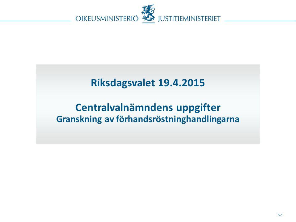 52 Riksdagsvalet 19.4.2015 Centralvalnämndens uppgifter Granskning av förhandsröstninghandlingarna