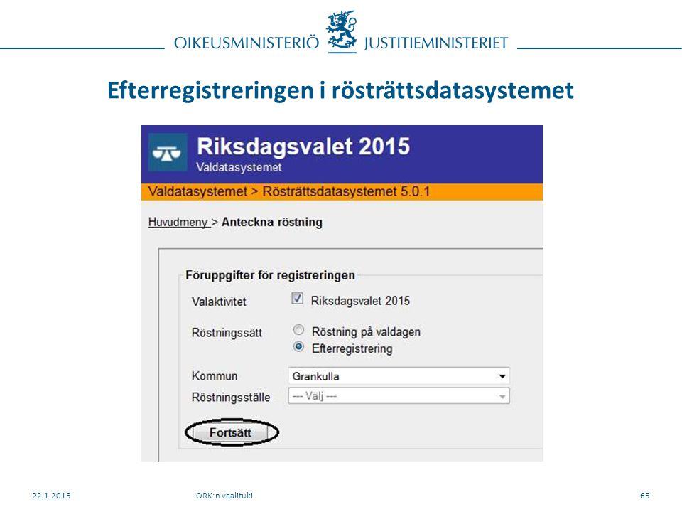 Efterregistreringen i rösträttsdatasystemet ORK:n vaalituki22.1.201565