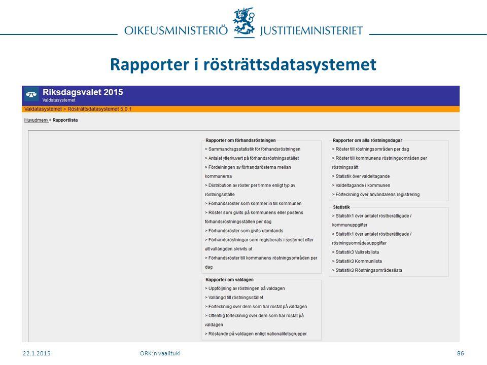 Rapporter i rösträttsdatasystemet ORK:n vaalituki22.1.201586