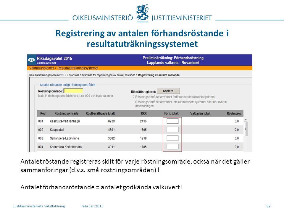 Registrering av antalen förhandsröstande i resultatuträkningssystemet 89 Antalet röstande registreras skilt för varje röstningsområde, också när det gäller sammanföringar (d.v.s.
