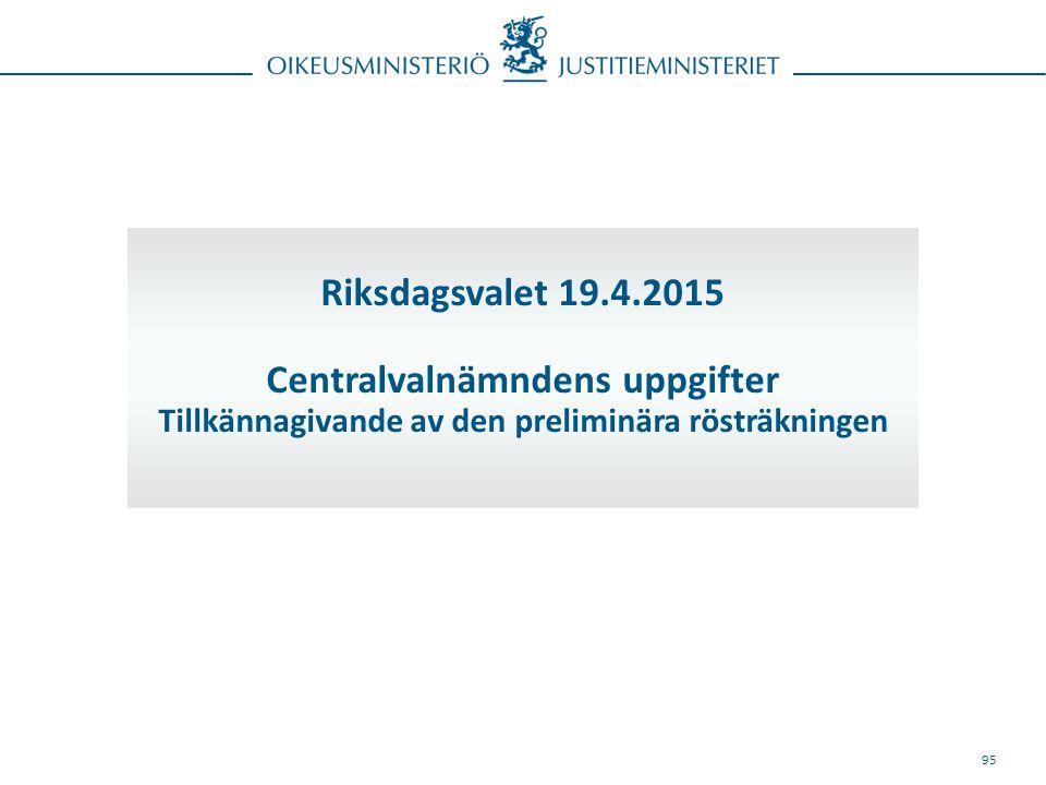 95 Riksdagsvalet 19.4.2015 Centralvalnämndens uppgifter Tillkännagivande av den preliminära rösträkningen