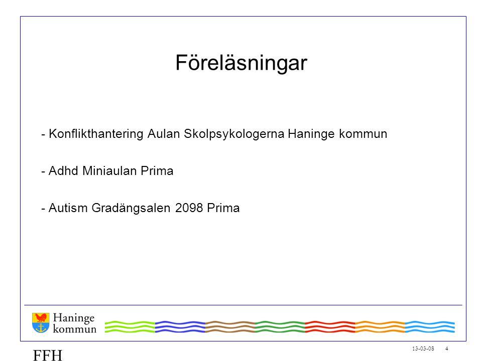 13-03-08 4 FFH Föreläsningar - Konflikthantering Aulan Skolpsykologerna Haninge kommun - Adhd Miniaulan Prima - Autism Gradängsalen 2098 Prima