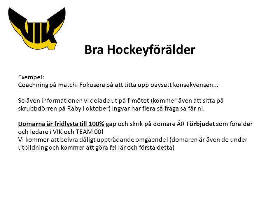 Bra Hockeyförälder Exempel: Coachning på match. Fokusera på att titta upp oavsett konsekvensen...