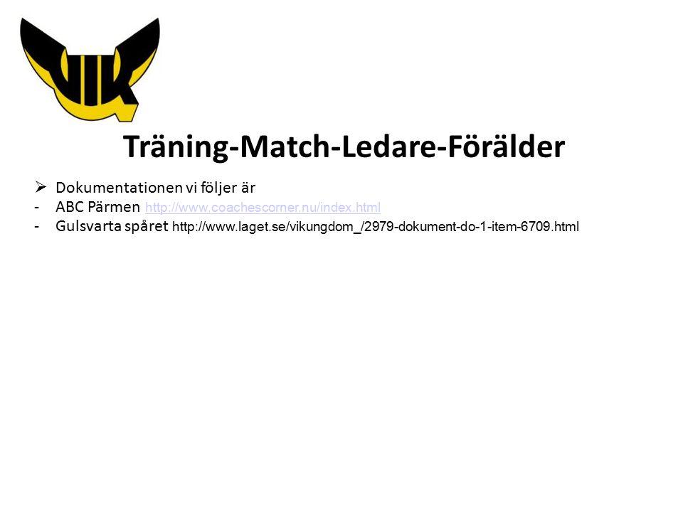 Träning-Match-Ledare-Förälder  Dokumentationen vi följer är -ABC Pärmen http://www.coachescorner.nu/index.html http://www.coachescorner.nu/index.html -Gulsvarta spåret http://www.laget.se/vikungdom_/2979-dokument-do-1-item-6709.html