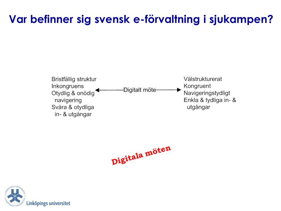 Var befinner sig svensk e-förvaltning i sjukampen? Digitala möten
