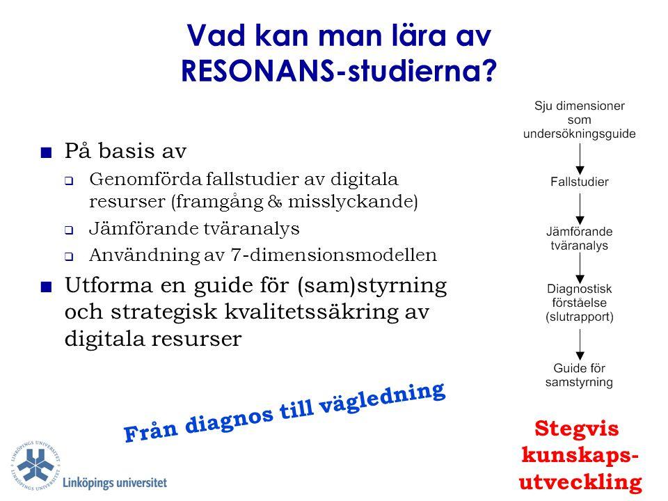 Vad kan man lära av RESONANS-studierna? ■ På basis av  Genomförda fallstudier av digitala resurser (framgång & misslyckande)  Jämförande tväranalys