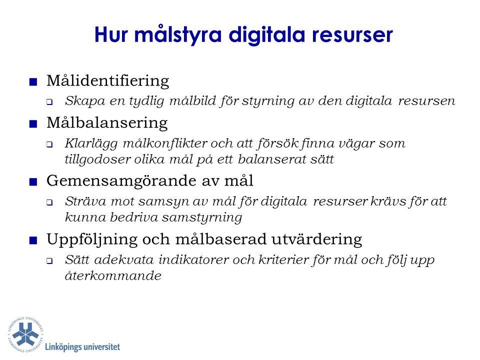 Hur målstyra digitala resurser ■ Målidentifiering  Skapa en tydlig målbild för styrning av den digitala resursen ■ Målbalansering  Klarlägg målkonfl