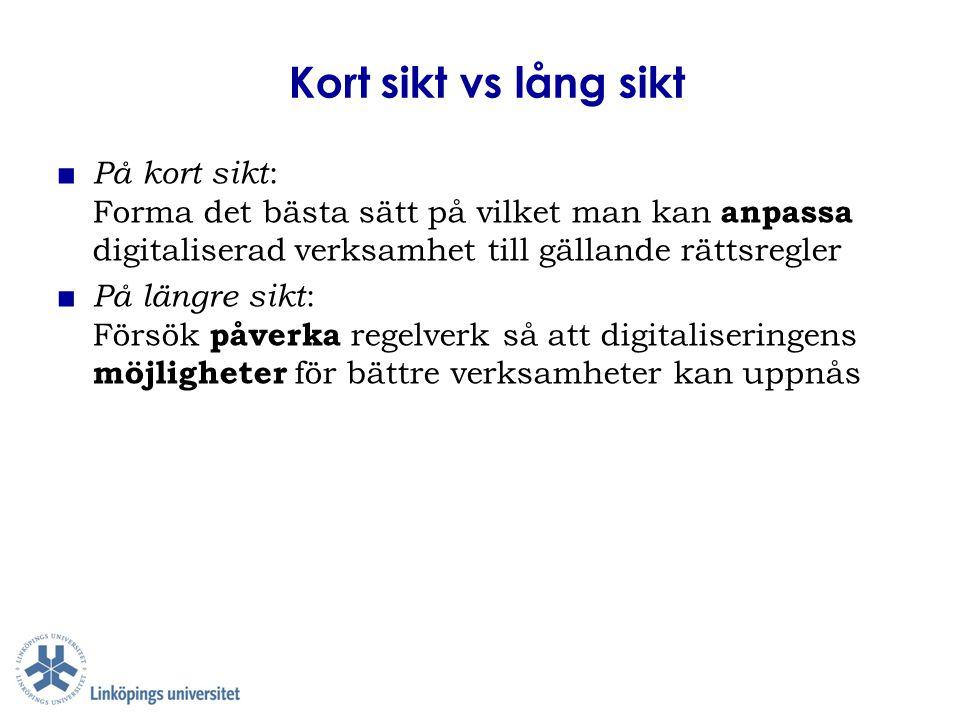 Kort sikt vs lång sikt ■ På kort sikt : Forma det bästa sätt på vilket man kan anpassa digitaliserad verksamhet till gällande rättsregler ■ På längre