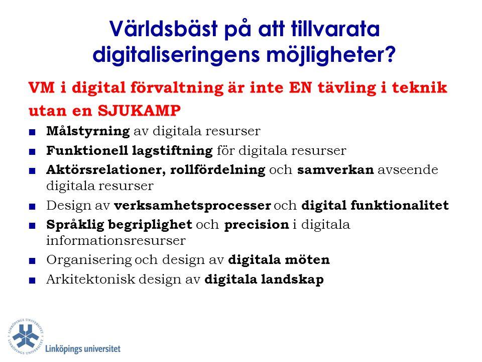 Digitala resurser är inte bara inramade av olika verksamhetsförutsättningar utan också bärare av dessa ■ Mål & värden ■ Regelverk ■ Aktörsrelationer ■ Verksamhetsprocesser ■ Språkbruk Digitala resurser kan aldrig bli bättre än sina externa förutsättningar