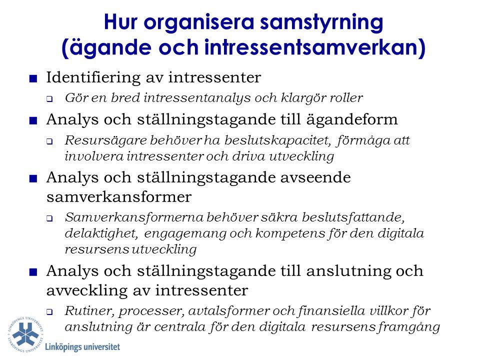Hur organisera samstyrning (ägande och intressentsamverkan) ■ Identifiering av intressenter  Gör en bred intressentanalys och klargör roller ■ Analys