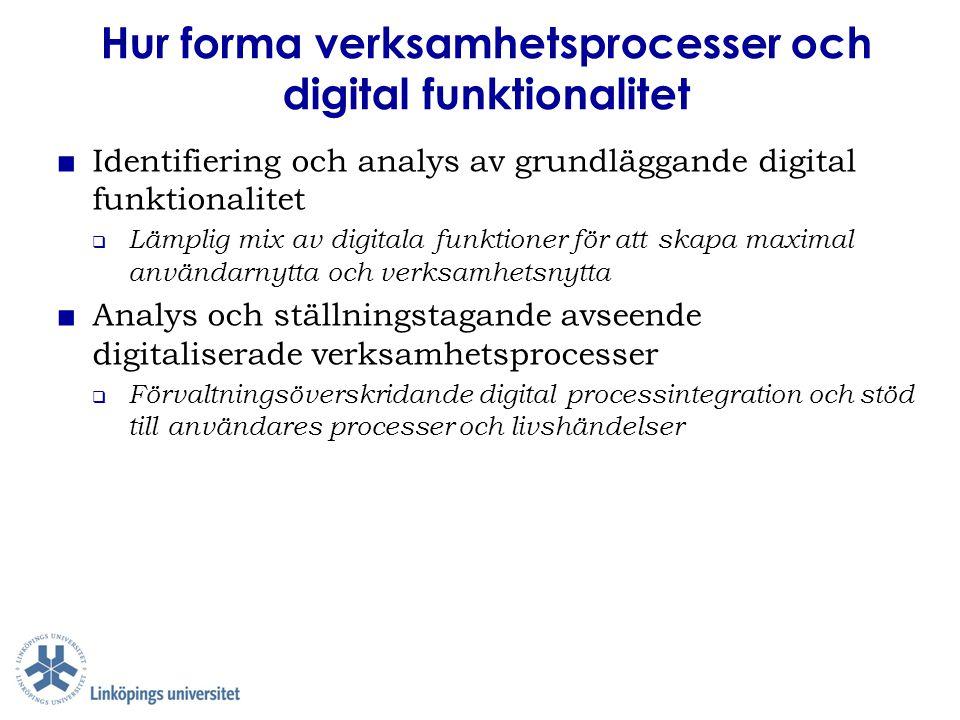 ■ Identifiering och analys av grundläggande digital funktionalitet  Lämplig mix av digitala funktioner för att skapa maximal användarnytta och verksa