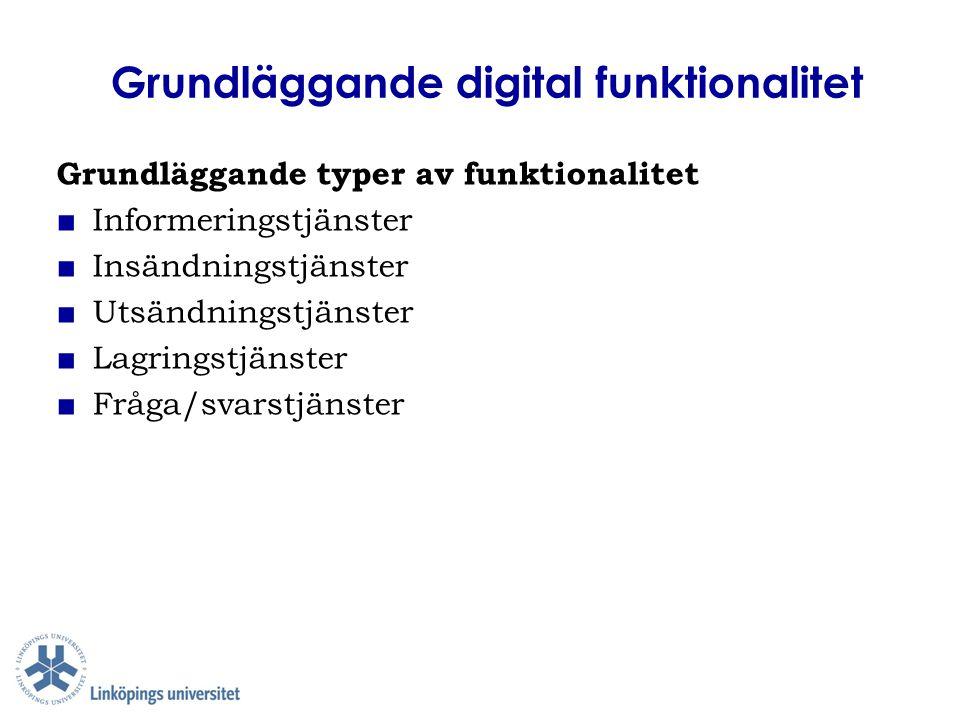 Grundläggande digital funktionalitet Grundläggande typer av funktionalitet ■ Informeringstjänster ■ Insändningstjänster ■ Utsändningstjänster ■ Lagrin