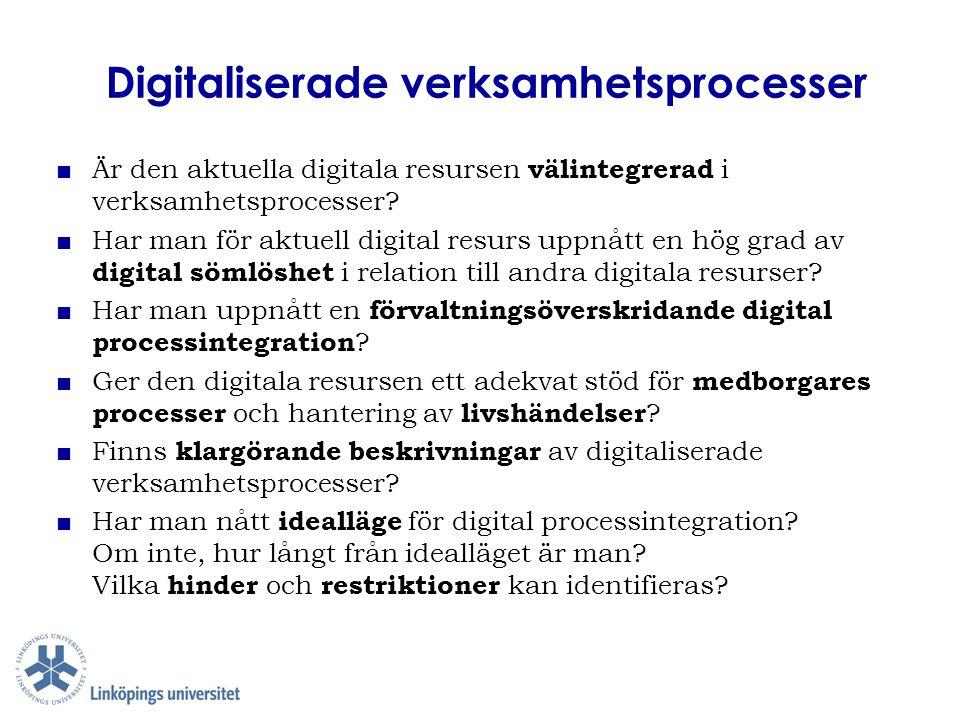 Digitaliserade verksamhetsprocesser ■ Är den aktuella digitala resursen välintegrerad i verksamhetsprocesser? ■ Har man för aktuell digital resurs upp