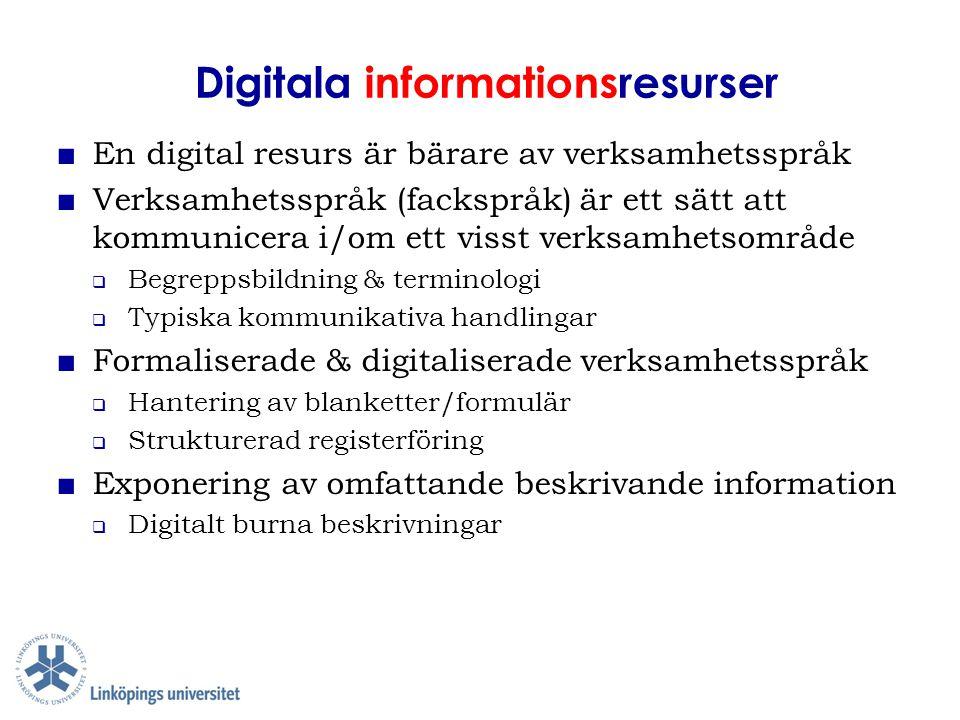 Digitala informationsresurser ■ En digital resurs är bärare av verksamhetsspråk ■ Verksamhetsspråk (fackspråk) är ett sätt att kommunicera i/om ett vi
