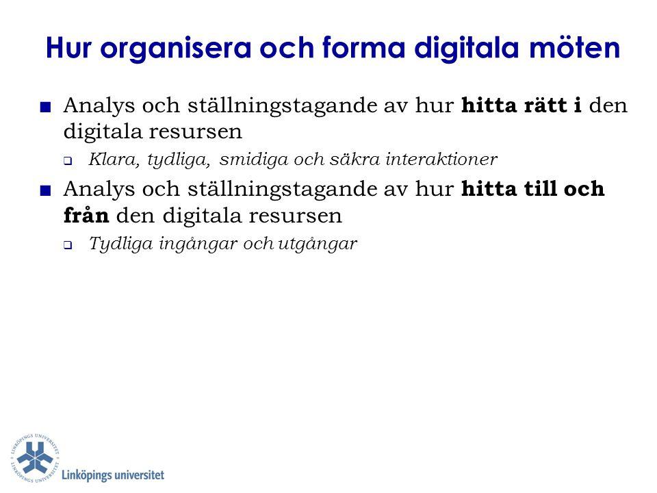 Hur organisera och forma digitala möten ■ Analys och ställningstagande av hur hitta rätt i den digitala resursen  Klara, tydliga, smidiga och säkra i