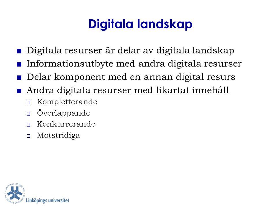 Digitala landskap ■ Digitala resurser är delar av digitala landskap ■ Informationsutbyte med andra digitala resurser ■ Delar komponent med en annan di