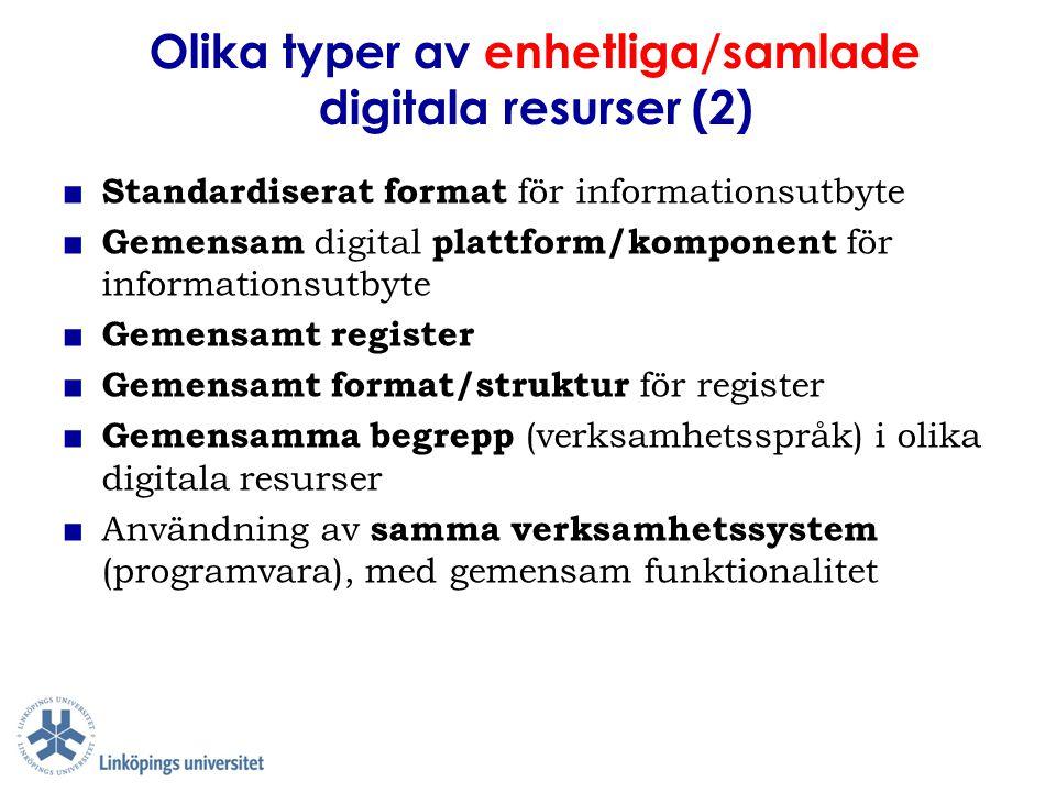 Olika typer av enhetliga/samlade digitala resurser (2) ■ Standardiserat format för informationsutbyte ■ Gemensam digital plattform/komponent för infor