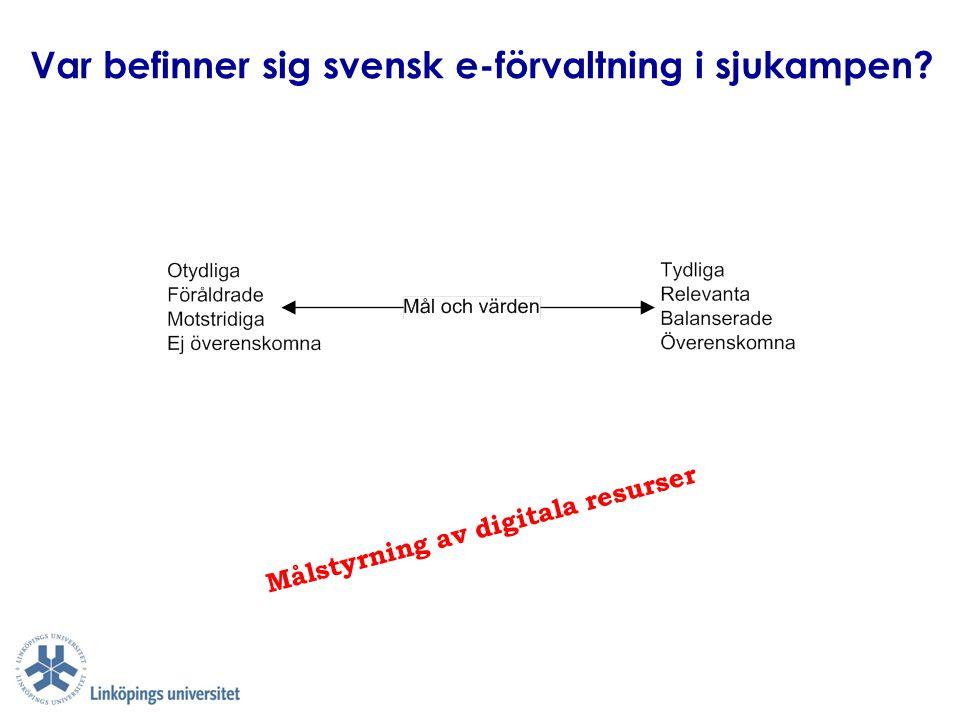 Var befinner sig svensk e-förvaltning i sjukampen? Målstyrning av digitala resurser