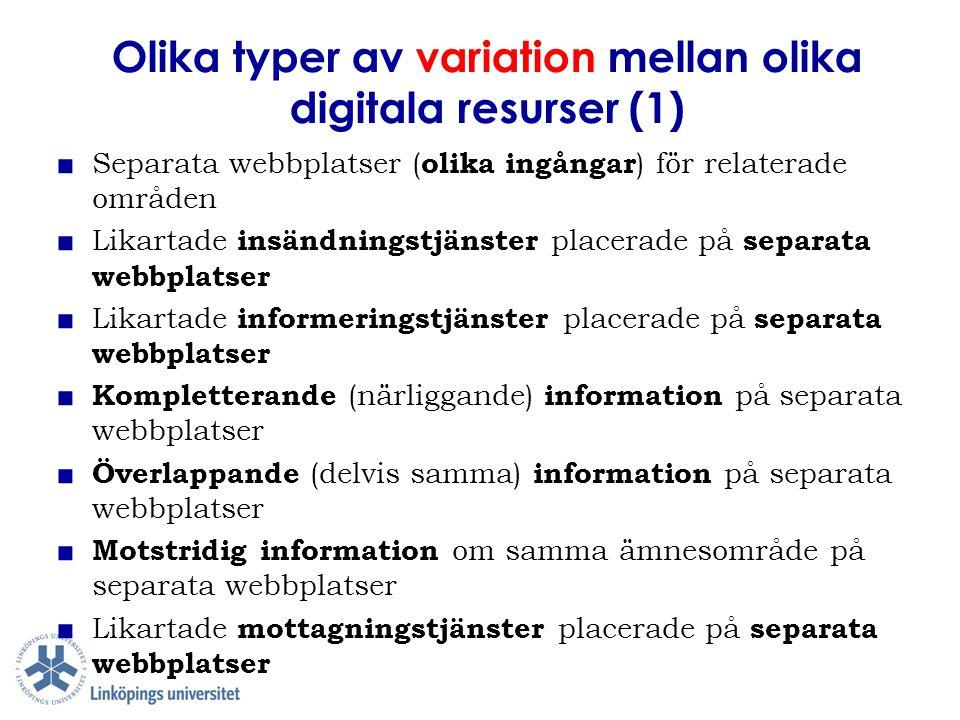 Olika typer av variation mellan olika digitala resurser (1) ■ Separata webbplatser ( olika ingångar ) för relaterade områden ■ Likartade insändningstj