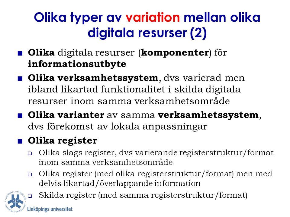 Olika typer av variation mellan olika digitala resurser (2) ■ Olika digitala resurser ( komponenter ) för informationsutbyte ■ Olika verksamhetssystem