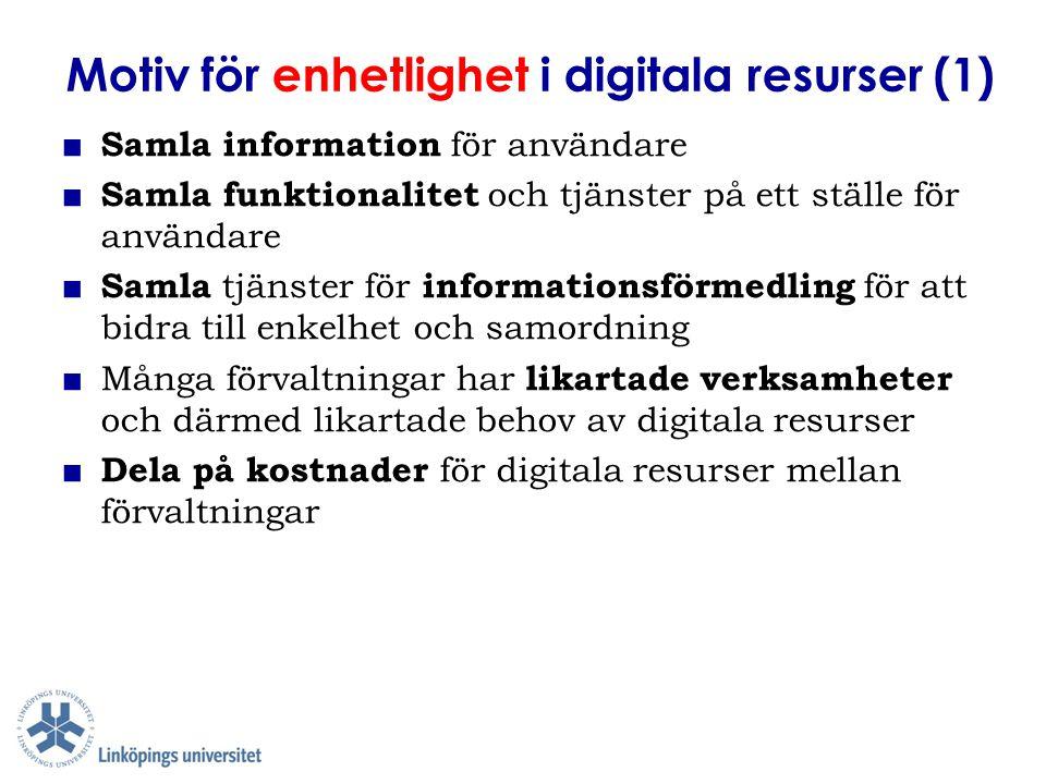 Motiv för enhetlighet i digitala resurser (1) ■ Samla information för användare ■ Samla funktionalitet och tjänster på ett ställe för användare ■ Saml