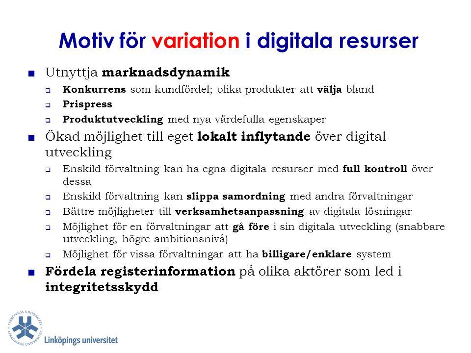 Motiv för variation i digitala resurser ■ Utnyttja marknadsdynamik  Konkurrens som kundfördel; olika produkter att välja bland  Prispress  Produktu