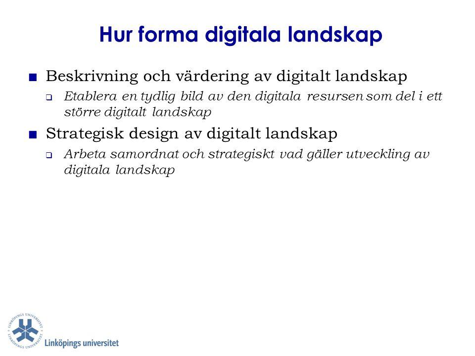Hur forma digitala landskap ■ Beskrivning och värdering av digitalt landskap  Etablera en tydlig bild av den digitala resursen som del i ett större d