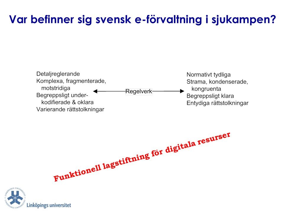 Hur ska vi organisera och distribuera ansvar för e-förvaltning i Sverige för kvalitet i världsklass.