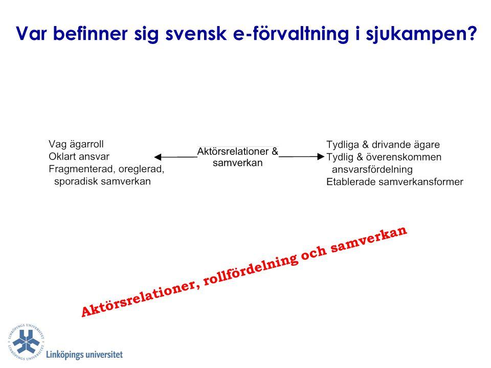 Var befinner sig svensk e-förvaltning i sjukampen? Aktörsrelationer, rollfördelning och samverkan