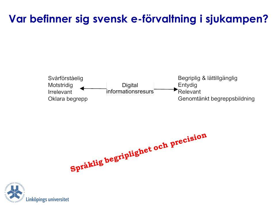 Var befinner sig svensk e-förvaltning i sjukampen? Språklig begriplighet och precision