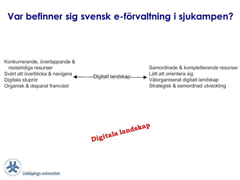 Var befinner sig svensk e-förvaltning i sjukampen? Digitala landskap