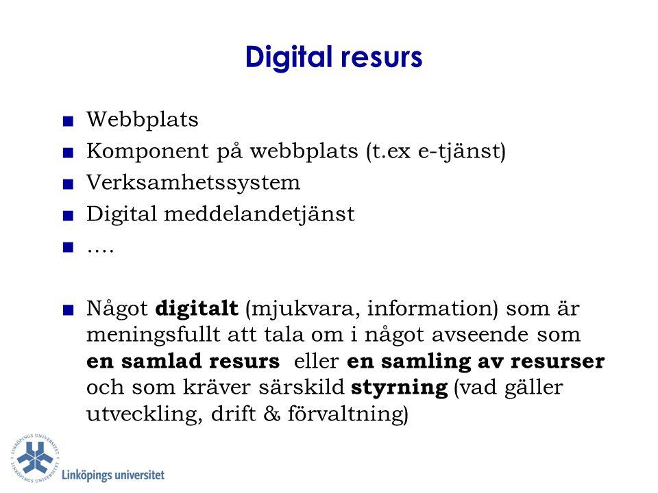 Digital resurs ■Webbplats ■Komponent på webbplats (t.ex e-tjänst) ■Verksamhetssystem ■Digital meddelandetjänst ■…. ■ Något digitalt (mjukvara, informa