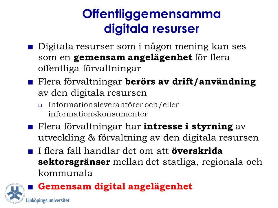 Offentliggemensamma digitala resurser ■ Digitala resurser som i någon mening kan ses som en gemensam angelägenhet för flera offentliga förvaltningar ■